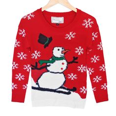 Hairy Skiing Snowman Tacky Ugly Christmas Sweater Plays Music