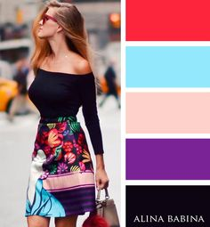 This picture shows Color because there is various different colors. Some of them are bright and others are dark. This outfit is something that would catch your eye.