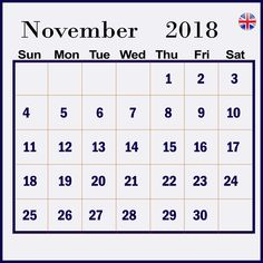 November 2018 Printable Calendar With Holidays Notes