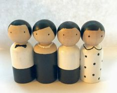 The Hilton Family - Peg Pals. Dolls House set of Peg doll people. Wood Peg Dolls, Clothespin Dolls, Hilton Family, Diy Snowman Decorations, Wooden People, Spool Crafts, Wooden Pegs, Little Doll, Diy Toys