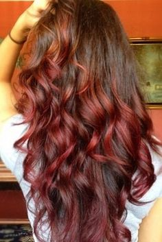 20 ideas for red ombre hair. List of red ombre hair colors. Red ombre hair color ideas for a bold new look. Brown To Red Ombre, Red Ombre Hair, Dark Brown, Dark Red, Dark Ombre, Short Ombre, Mahogany Brown, Brown Skin, Red Black