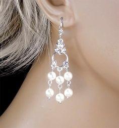 Crystal White Swarovski Pearl Bridal Earrings