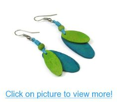Coco Wood in Pastel Aqua and Spring Green Tropical Dangle Earrings