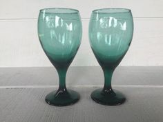 vintage teal green water goblets libbey by