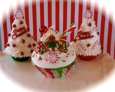 "Fake Cupcake ""Kitschy Christmas Cupcake Ornament Collection"" ""Gingerbread Mountain"" 12 Legs Original Holiday Decor by 12LegsCuriosities on Etsy https://www.etsy.com/listing/114639599/fake-cupcake-kitschy-christmas-cupcake"