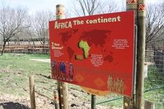 Blank Park Zoo graphic that includes a hint of patterns while still have very readable messages! Blank Park Zoo, Zoo Signage, Rhinos, Garden Signs, Environmental Graphics, Continents, Exhibit, Behind The Scenes, Safari