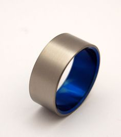 Brushed and Blue Wedding Band. $120.00, via Etsy.