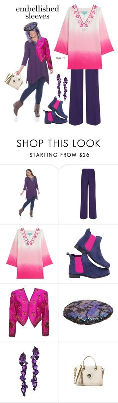 """""""Dress my Mother with Embellished Sleeves and Purple and Pink  for her Birhday!"""" by birgitte-b-d ❤ liked on Polyvore featuring White Mark, Marco de Vincenzo, TAJ by SABRINA CRIPPA, Super Duper, Plukka and plus size clothing"""