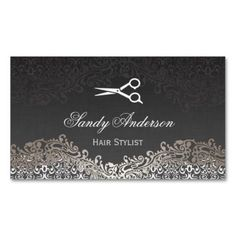 Vintage Elegant Silver Damask - Indie Hair Stylist Double-Sided Standard Business Cards Pack Of 100