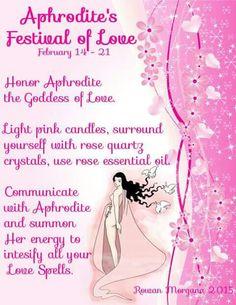 February 14 - 21 Aphrodite's Festival of Love Honor Aphrodite the Goddess of Love. Witchcraft Spell Books, Magick Book, Wiccan Spell Book, Wicca Witchcraft, Greek Mythology Gods, Greek Gods And Goddesses, Ascendant Balance, Aphrodite Aesthetic, Aphrodite Goddess