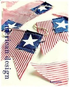 Patriotic, red white and blue banner. DIY - Red ticking, a square of old denim and a star stamp garland Memorial Day, July Fourth Of July Decor, 4th Of July Celebration, 4th Of July Decorations, 4th Of July Party, July 4th, Patriotic Party, Patriotic Crafts, July Crafts, Summer Crafts