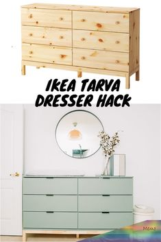 I love a good DIY project and this IKEA Tarva Dresser Hack is so easy and has the most beautiful end result. We put together this dresser for our nursery. home diy DIY IKEA Tarva Dresser Hack - Get Kamfortable Ikea Hacks, Ikea Furniture Hacks, Furniture Ideas, Furniture Redo, Hacks Diy, Nursery Furniture, Furniture Design, Custom Furniture, Dark Furniture Bedroom