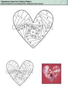 Valentines Heart Iris Folding Pattern on Craftsuprint designed by Sarah Edwards - Valentines Heart Iris Folding Pattern, full of love! - Now available for download!