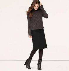 Petite Long Ponte Pencil Skirt - We love the endlessly elongated look of this fine pencil, done in our sturdy double-knit ponte that stretches, contours and holds you in without ever losing its shape. Back vent. Black Pencil Skirt Outfit, Black Skirt Outfits, Pencil Skirt Casual, Long Pencil Skirt, Pencil Skirt Outfits, Winter Skirt Outfit, Winter Outfits, Work Fashion, Modest Fashion