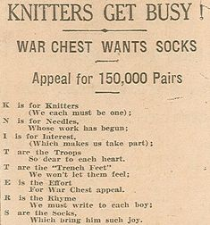 """Knitters get busy!"" Poem published in an unknown newspaper in 1918. RC07899"