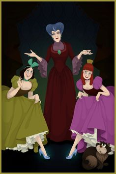 What if Disney villains had won instead? Lady Tremaine—also known as the wicked stepmother—watches proudly as her spoiled daughters, Anastasia and Drizella, show off the glass slippers that poor Cinderella didn't get to wear. Disney Pixar, Walt Disney, Disney Animation, Disney Movie Villains, Disney Films, Disney Love, Disney Magic, Disney Characters, Evil Disney