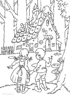 Hansel and gretel Coloring Pages Coloring Book Pages, Printable Coloring Pages, Coloring Pages For Kids, Coloring Sheets, Adult Coloring, Hansel Y Gretel Cuento, Fairy Tale Projects, Amazing Drawings, Digi Stamps
