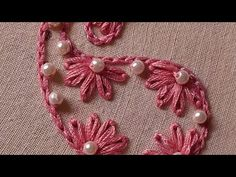 Hand Embroidery Patterns Flowers, Hand Embroidery Art, Hand Embroidery Videos, Embroidery Stitches Tutorial, Flower Embroidery Designs, Creative Embroidery, Simple Embroidery, Embroidery Jewelry, Beaded Embroidery