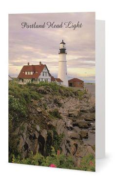 New England Lighthouse Greeting Note Card, Portland Head Light,  Portland, Maine…