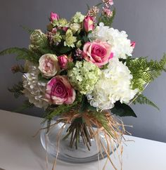 Artificial Flower Arrangement in Tones of Pink and White with Roses and Hydrangea