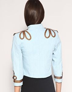 Enlarge Your Eyes Lie Braided Military Denim Jacket