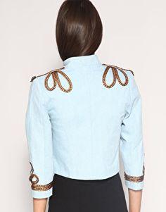 Enlarge Your Eyes Lie Braided Military Denim Jacket