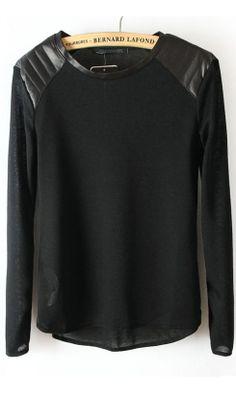 New leather shoulder T-shirt black