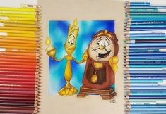 Beauty And The Beast Drawing, Cogsworth, Polychromos, Prismacolor, Colored Pencils, My Arts, Princess Zelda, Video Link, Drawings