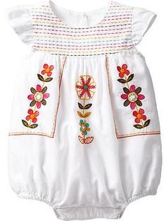 Embroidered Bubble Rompers for Baby