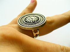 Mayan Sun Ring in Antique Silver Metal by MidnightStarlet on Etsy, $24.99