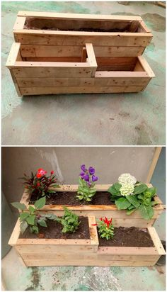This superb piece of the pallet planter box would add up an amazing effect to raise your garden beauty. This is a large rectangular piece of the planter that is divided into three dissimilar portions of planters. It would give out an enchanting natural de Deck Planter Boxes, Elevated Planter Box, Wood Pallet Planters, Diy Planter Box, Diy Planters, Garden Boxes, Wood Pallets, Pallet Wood, Planter Garden