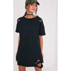 Orla Black Distressed Short Sleeve Sweater Dress
