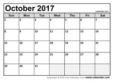 October 2017 Calendar  http://socialebuzz.com/october-2017-calendar-printable-template/
