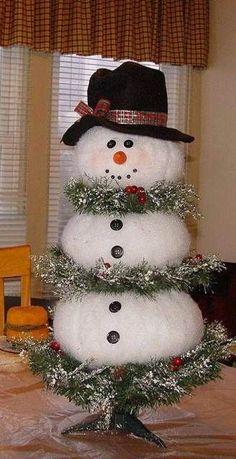 Chritmas Tree turned into Lifesized snowman - Cheap DIY Christmas Decor Ideas