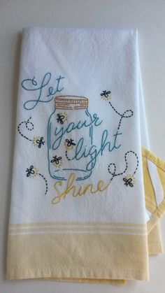 Embroidery Patterns Mason jar lightening bugs tea towel fireflies tea by HooksAndRoses - How to Make Whipped Cream, Butter, and Buttermilk (Very Easy! Hand Embroidery Patterns, Vintage Embroidery, Embroidery Applique, Cross Stitch Embroidery, Machine Embroidery, Embroidery Designs, Dish Towel Embroidery, Embroidered Towels, Sewing Crafts