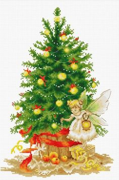 Christmas Tree from Luca-S counted cross stitch kit. Cross Stitch Fairy, Xmas Cross Stitch, Counted Cross Stitch Kits, Cross Stitch Embroidery, Embroidery Patterns, Christmas Tree Fairy, Christmas Tree Pattern, Xmas Tree, Cross Stitch Christmas Stockings