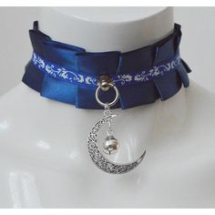 Kittenplay collar Moonlight sonata kitten pet play wiccan wicca witch... ($18) ❤ liked on Polyvore featuring jewelry, necklaces, goth necklace, gothic chokers, ribbon necklaces, collar choker and long choker necklace