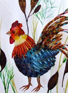Aquarell - Hahn Malerei - ein Designerstück von CelineOriginalArt bei DaWanda