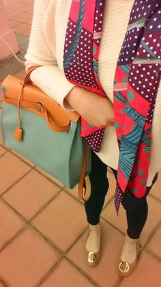 hermes herbag tory burch flats hermes maxi twilly  sweater  top shop jeans