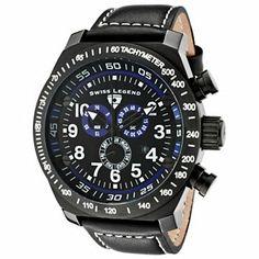 Swiss Legend Mens SL Pilot Quartz Chronograph Leather Strap Watch