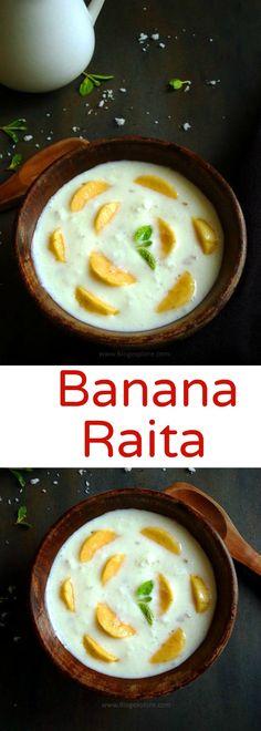 Kele Ka Raita recipe - a sweet raita with ripe banana fruit and flavored with coconut. A quick and easy fruity raita to accompany a spicy meal.