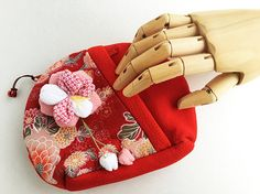 Red fabric purse made of kimono fabric zip up make up pouch