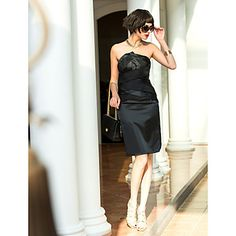 Knee-length Stretch Satin Bridesmaid Dress - Black Apple / Hourglass / Inverted Triangle / Pear / Rectangle / Plus Sizes / Petite / Misses – USD $ 79.99