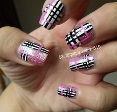 Plaid nails by filipinogoddess619 on Instagram | See more nail designs at http://www.nailsss.com/acrylic-nails-ideas/2/