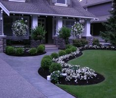 landscaping Love the green and white...and, of course the bed shapes and the hard scape.