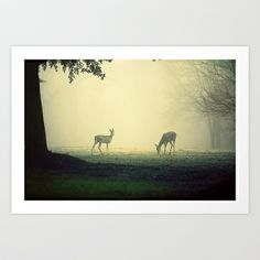 Two Deer on Green Art Print by Slight Clutter - $17.00