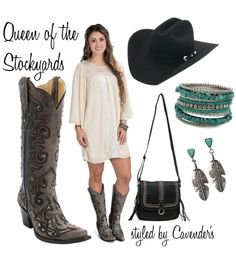 #RodeoSeason is here! Whether you're attending an event or strolling the grounds, comfort and style are key. Bring the style up a notch with a comfortable dress, a crossbody bag, and of course, boots! Finish off your look with turquoise jewelry and the crowning glory: your favorite cowboy hat.