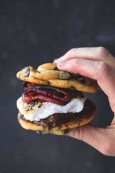 Grilled Chocolate Chip Cookie Bacon S'mores | Creme de la Crumb | These insanely delicious grilled chocolate chip cookie bacon s'mores are everything you love about traditional s'mores, but BETTER.
