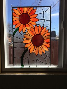 Stained glass sunflower panel, orange, red, yellow, green Stained Glass Flowers, Faux Stained Glass, Stained Glass Panels, Stained Glass Projects, Leaded Glass, Blown Glass Art, Fused Glass Art, Glass Wall Art, Glass Paint