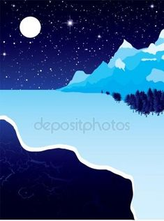 iCLIPART - Night landscape with winter snow ice and starry sky Winter Clipart, Clip Art, Ski, Snow And Ice, Clipart Images, Winter Snow, Royalty Free Images, Illustrations, Landscape